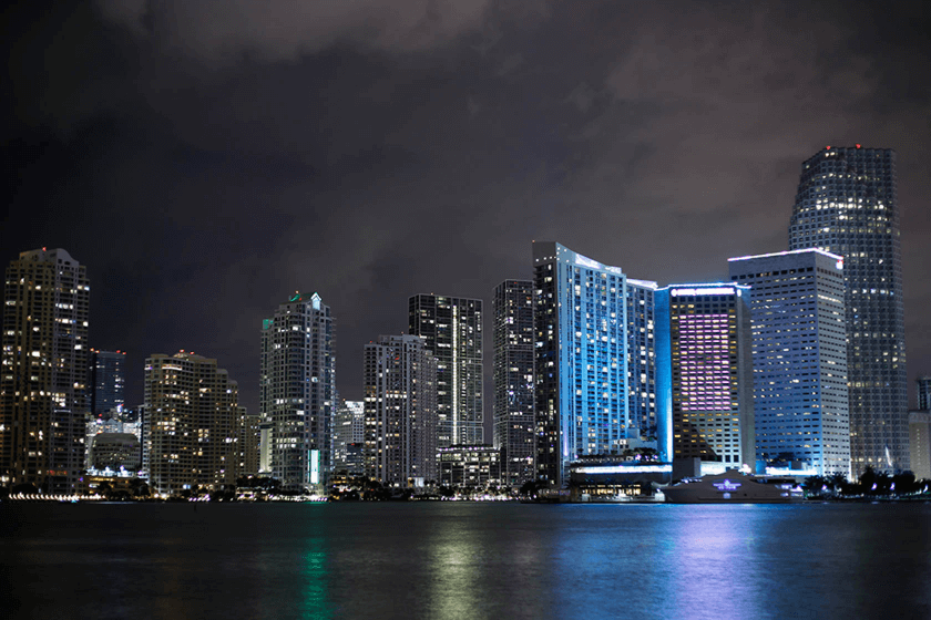 Lit-up city buildings by the water below a cloudy night sky, photographed using the Canon 50mm 1.8 STM lens