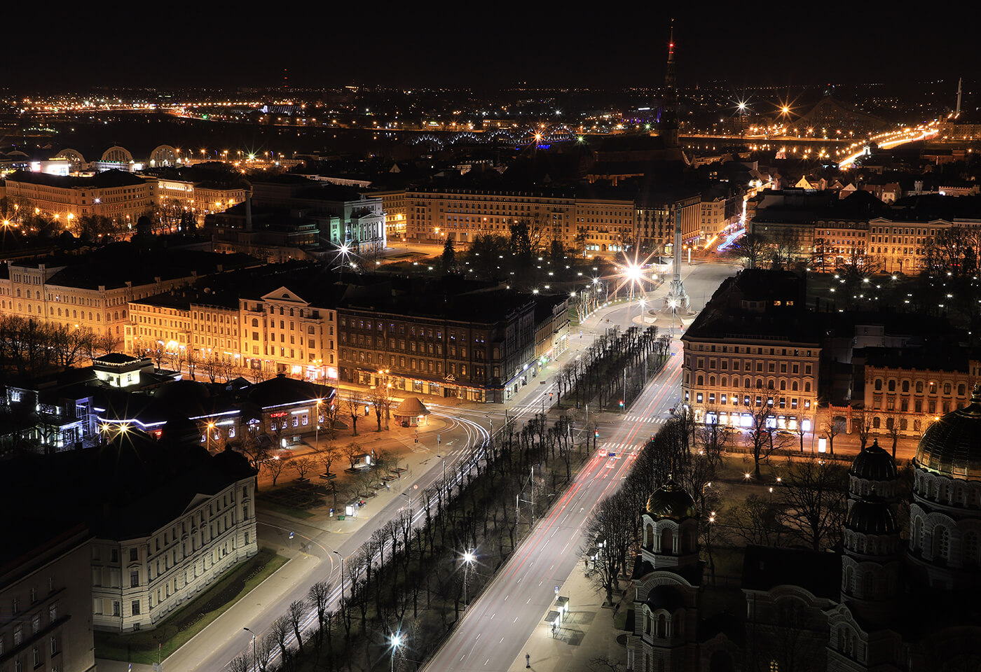 View from the Skyline Bar in Riga, Latvia at night, photographed with the Canon 6D Mark II DSLR camera
