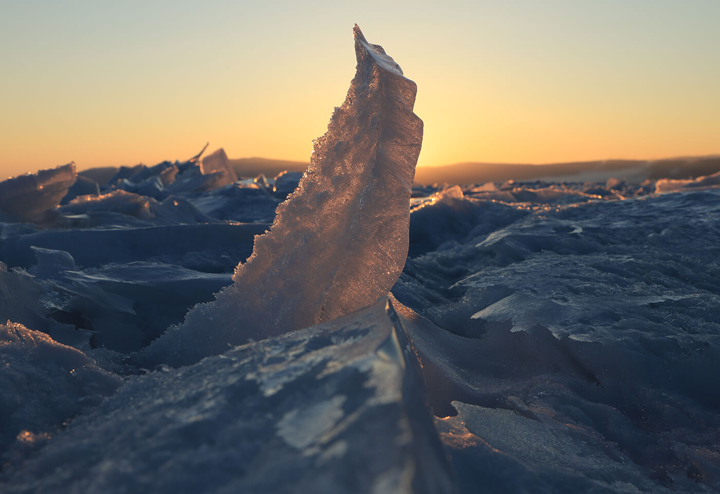 Shards of ice backlit by the setting sun, photographed with the Canon 6D Mark II DSLR camera