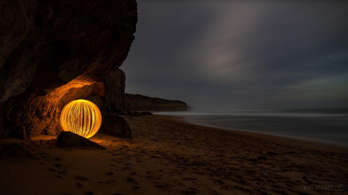 light ball photography on the beach