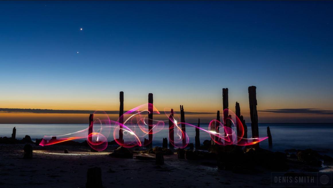 light photography on the beach