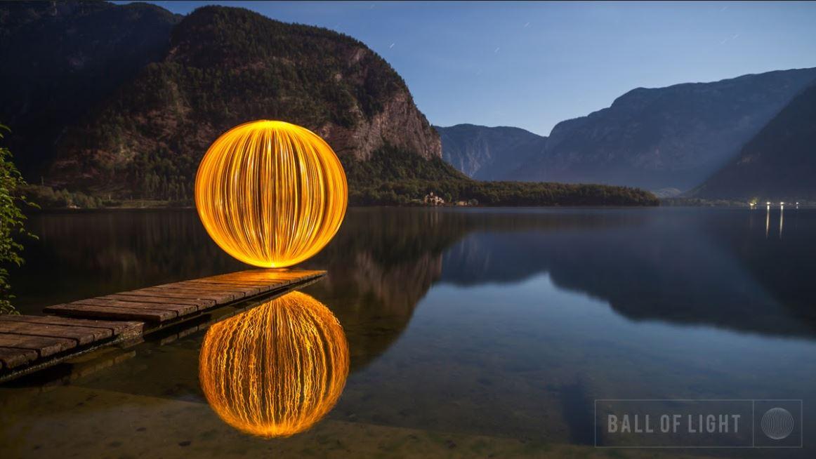 light ball photography on the lake