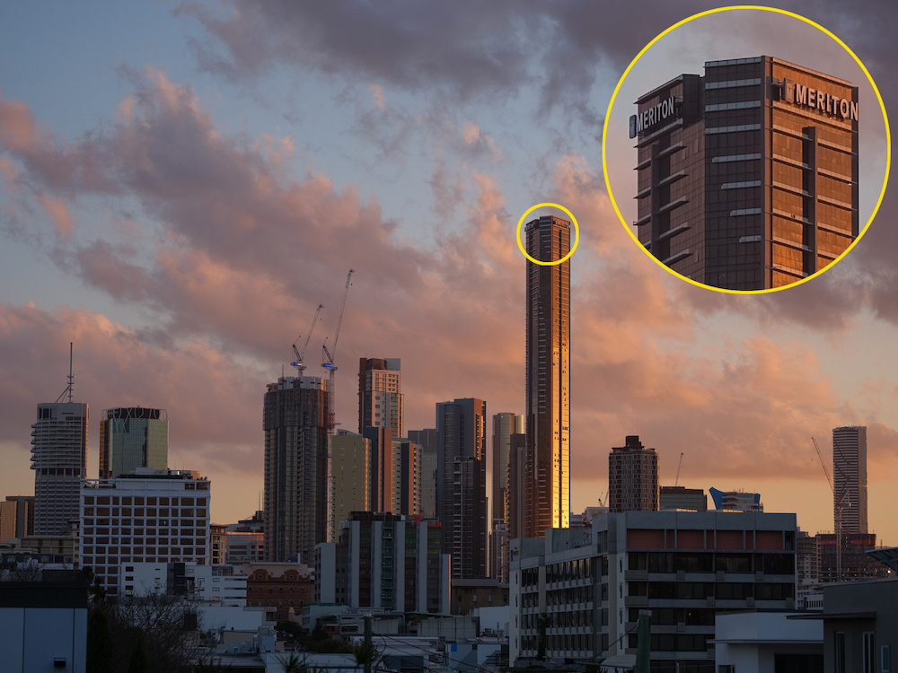 Tall buildings during sunset, taken with the Fujifilm GFX50S Mk II camera