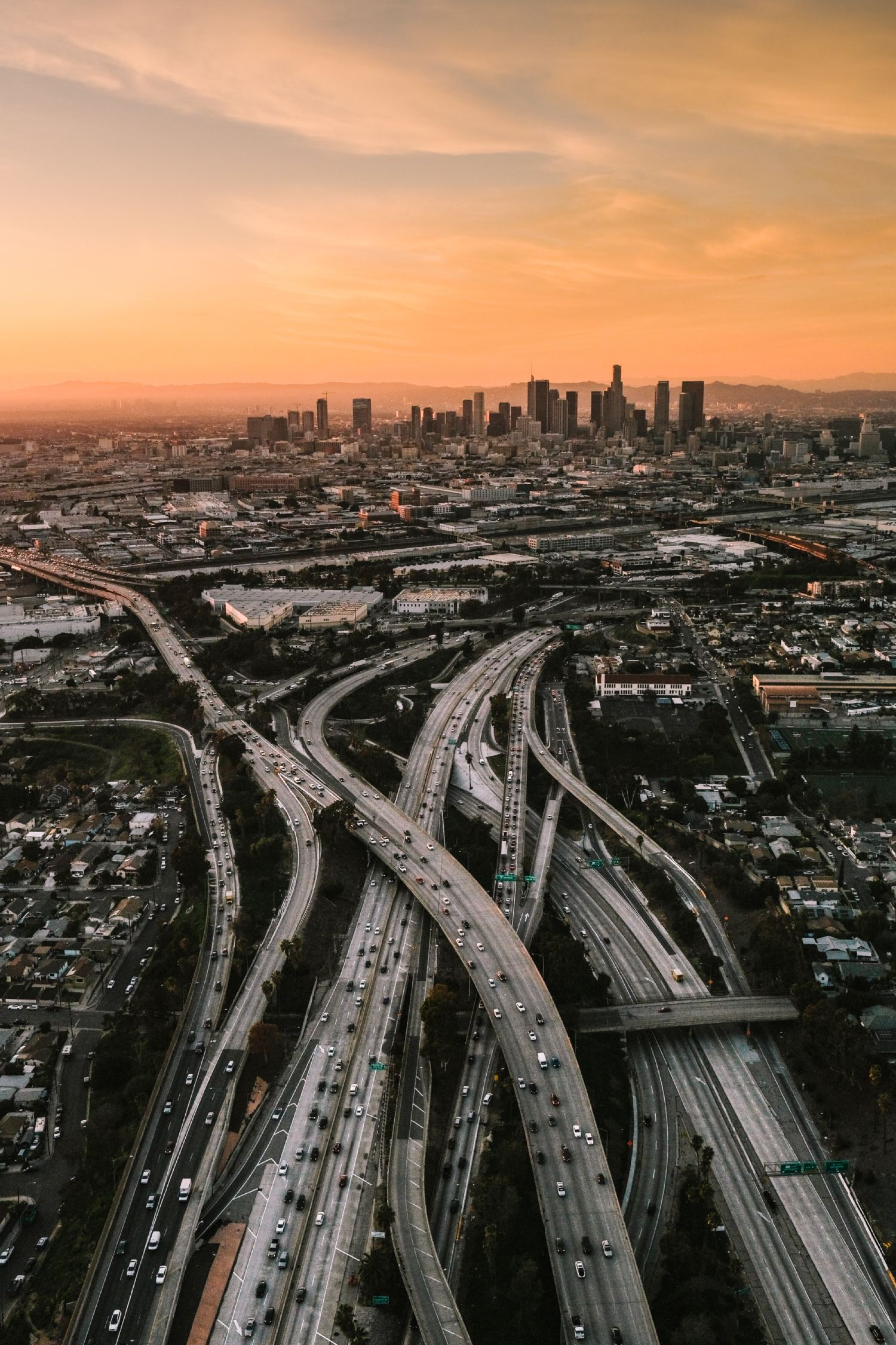 View over motorways towards city skyline on the horizon, shot using Fujifilm X-T4
