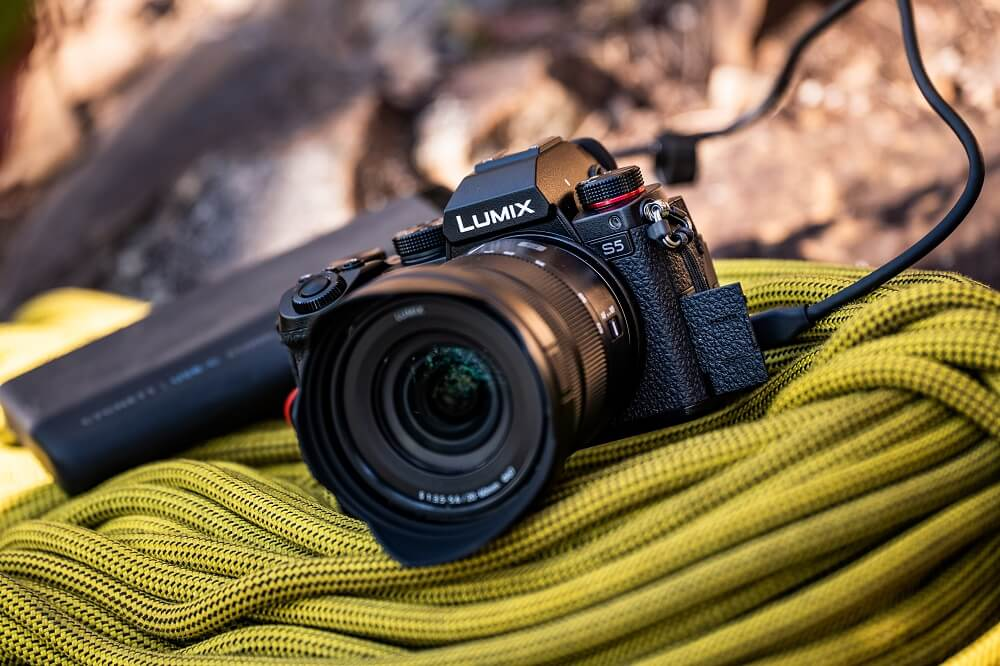 The Panasonic Lumis S5 placed about a coil of rope