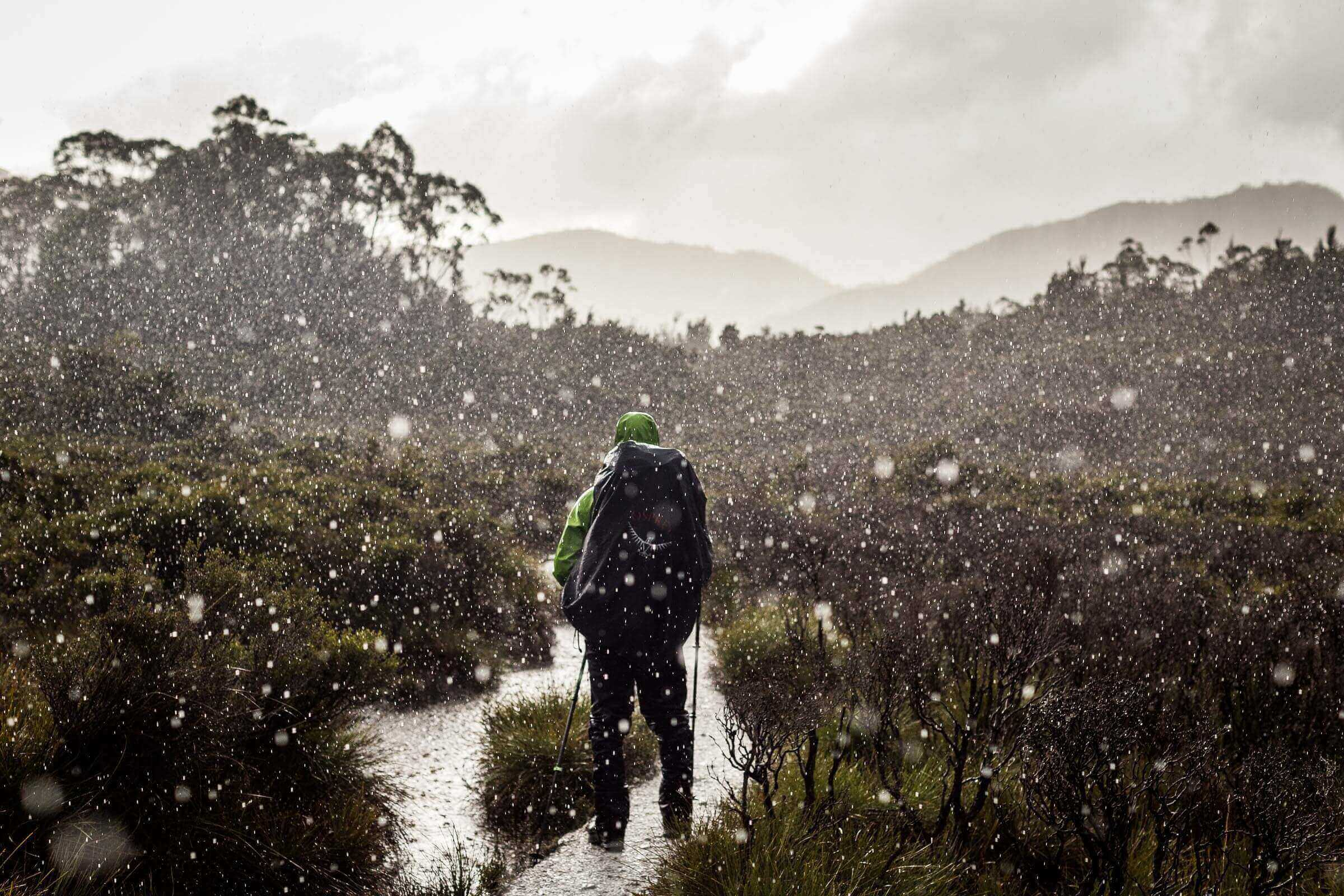 Hailstorm whilst hiking in the Southwest National Park, Tasmania