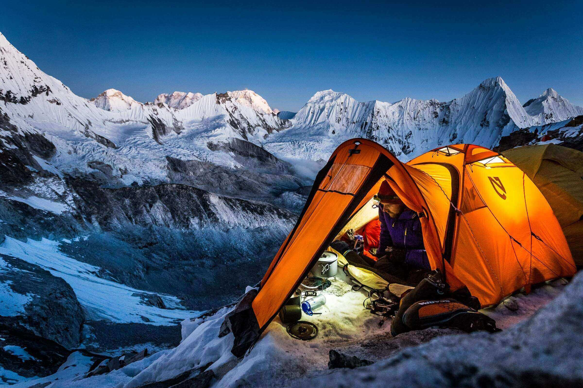 Self portrait whilst camped at 5700m on the South West Ridge of Ama Dablam (6812m) in Nepal
