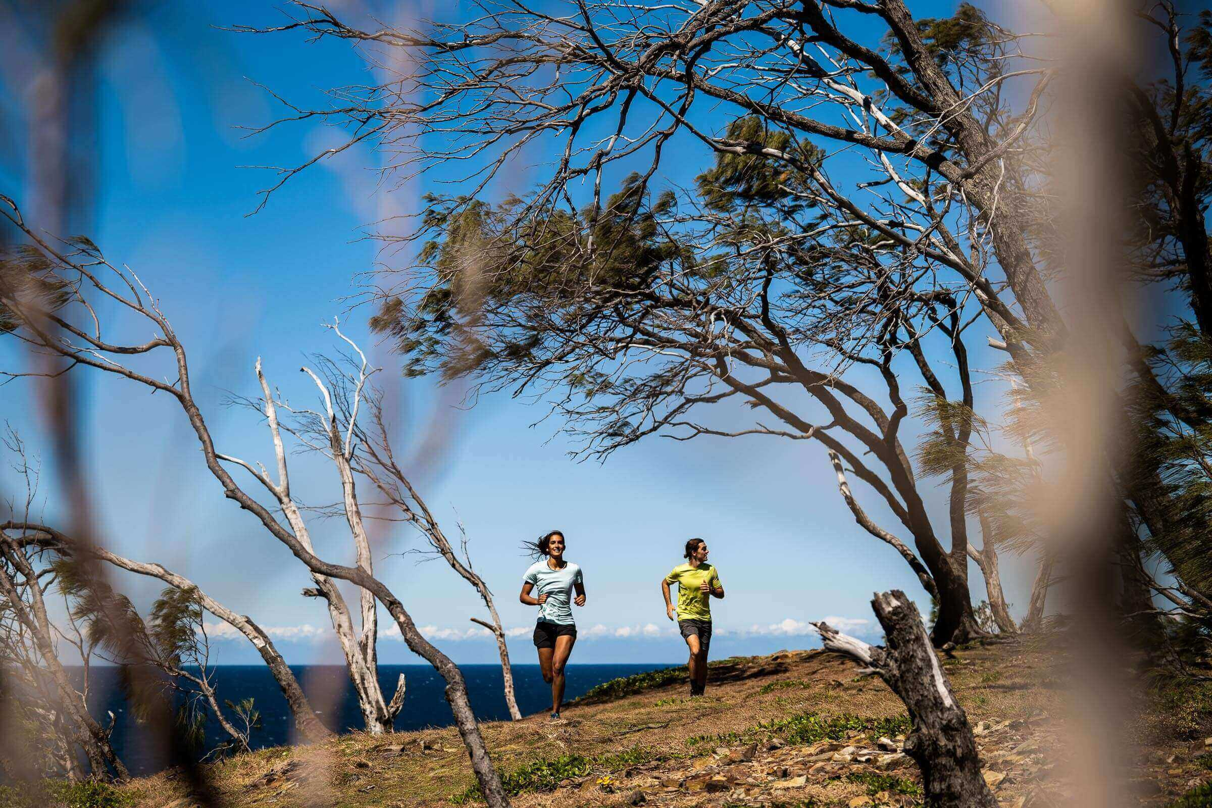Trail running at Noosa Heads, Qld – from a commercial shoot for Paddy Pallin