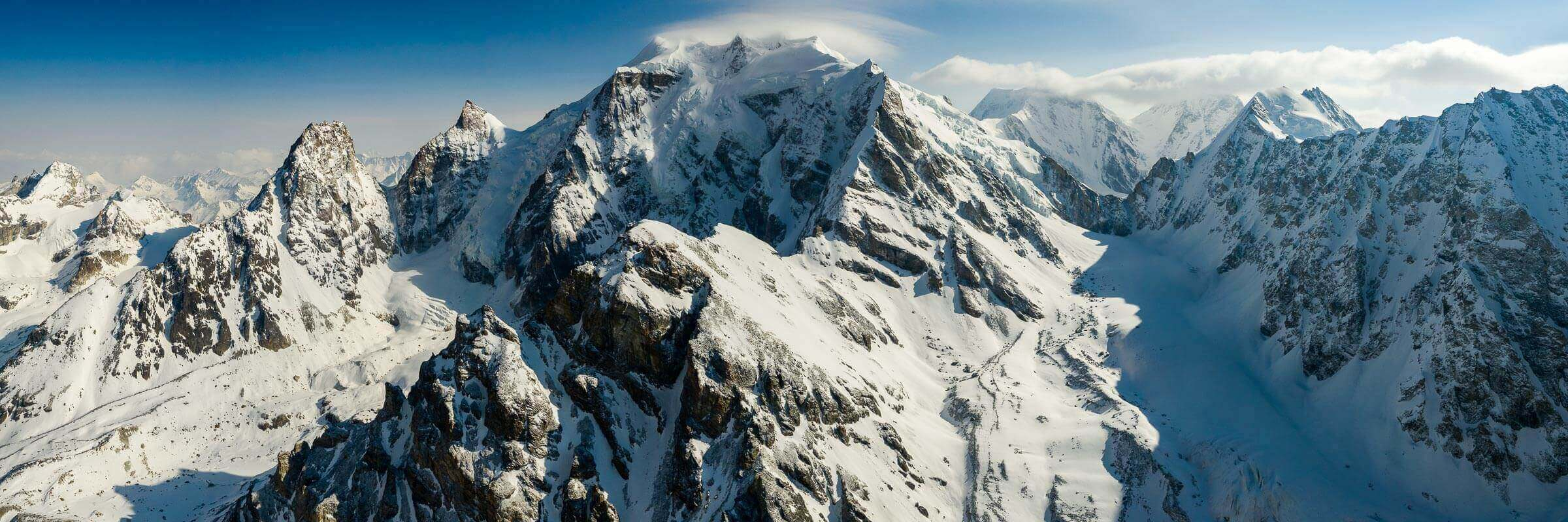 A stitched drone panorama shot in the north-west of the Nepal Himalaya
