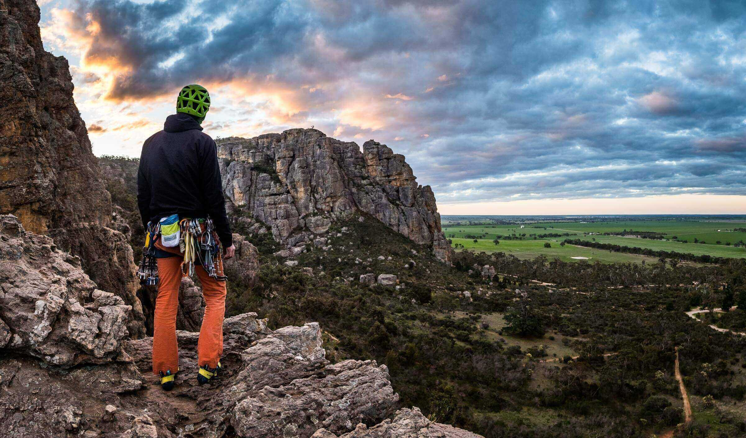 A stitched panorama of Mike McCormack watching sunset over the rock climbing mecca of Mount Arapiles, Victoria