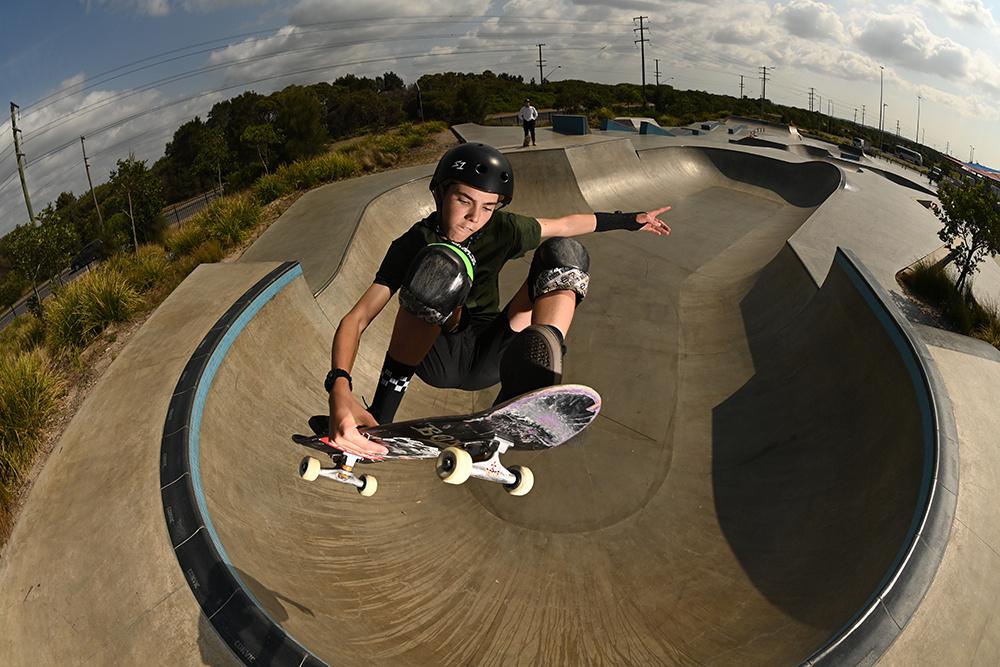 Young skateboarder performing mid-air - shot on Nikon D6 DSLR camera