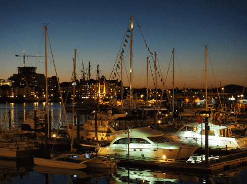 Boat docked in marina after sunset, photographed with the Olympus 12-40mm f2.8 PRO lens
