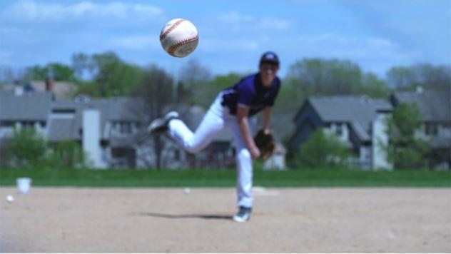 Baseball player throwing the ball, photographed with the Panasonic LUMIX G7