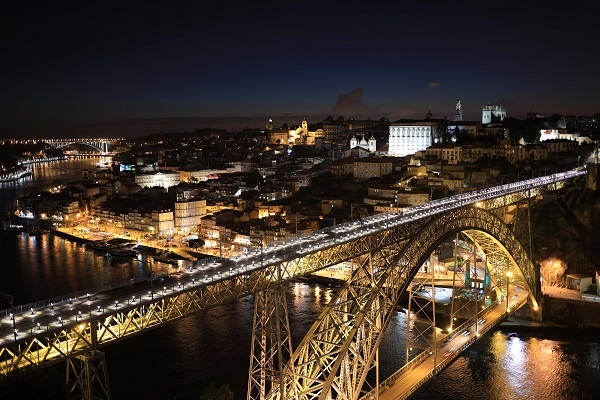 Douro River, D. Luis Bridge and Porto cityscape at night, photographed with the Canon RF 35mm f1.8 lens