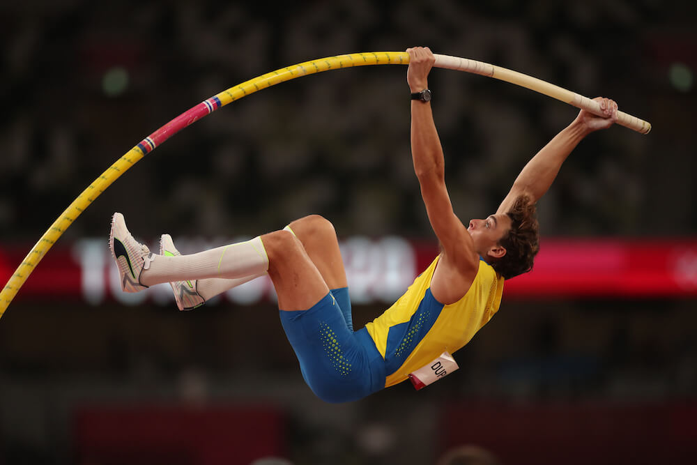 Pole vault athlete, photo by Tim Clayton