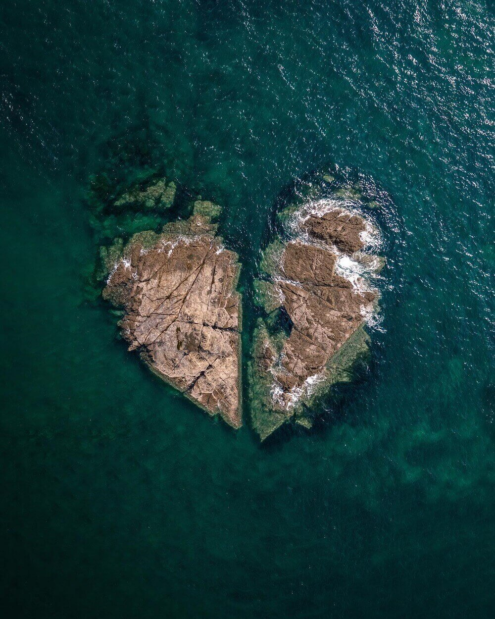 aerial photograph of a a heart-shaped island