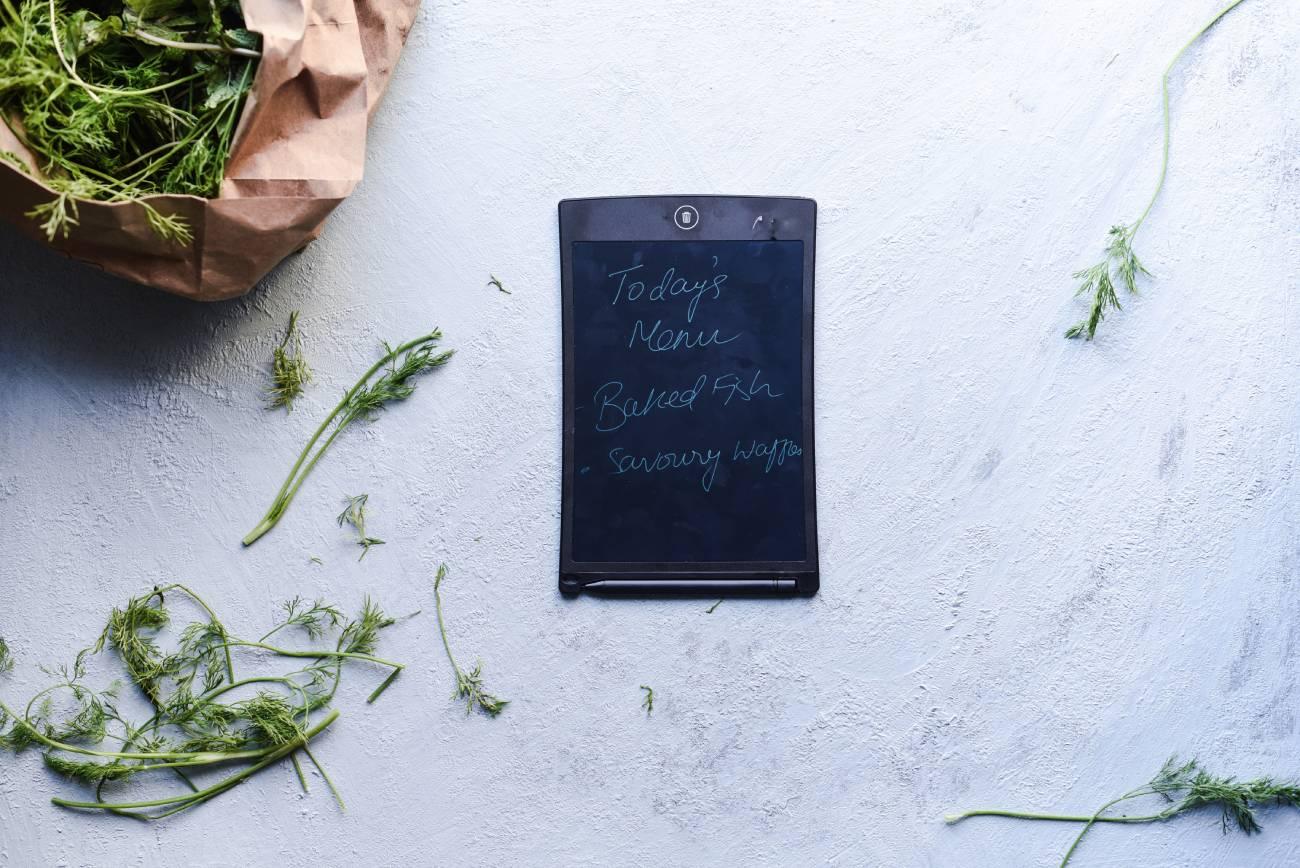flatlay of a menu sighboard