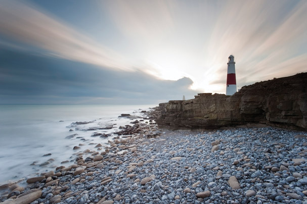 A lighthouse on a cliff, taken using Lee Filters Big Stopper