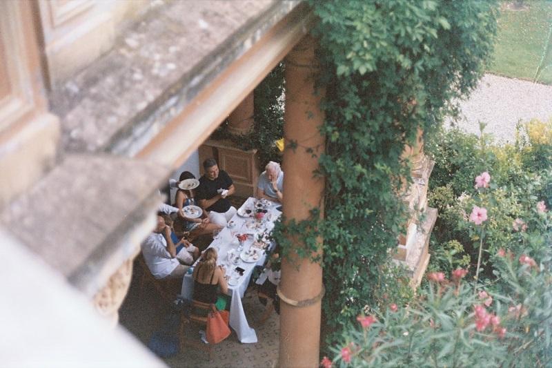 simple family dinner in the garden