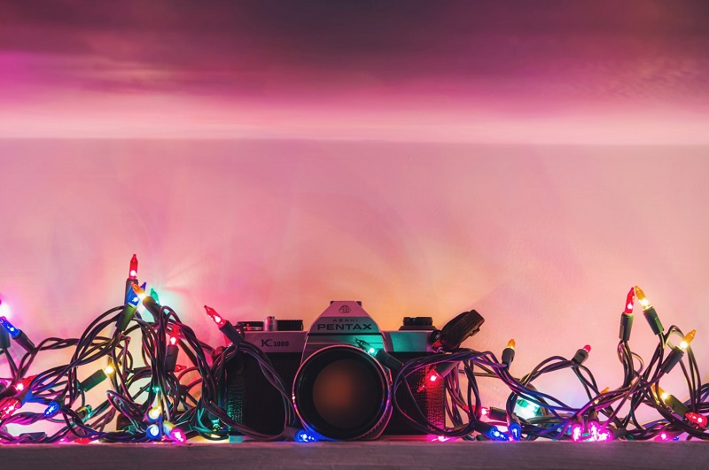 pentax slr with christmas lights