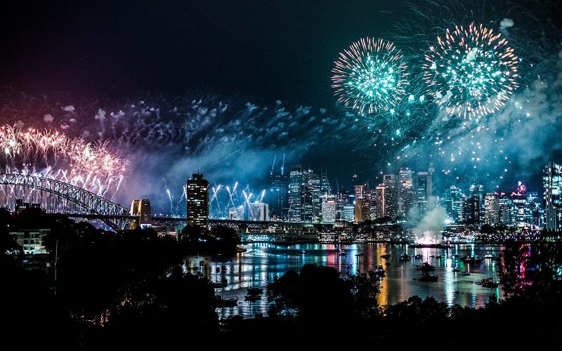 fireworks photography near a bridge