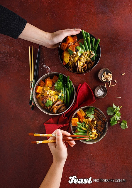 food photography asian curry flatlay