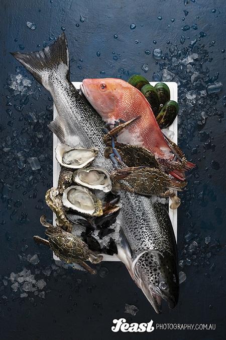 food photography fresh seafood flatlay
