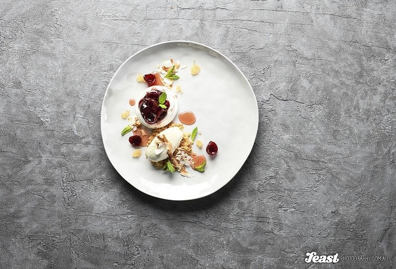 food photography pavlova flatlay