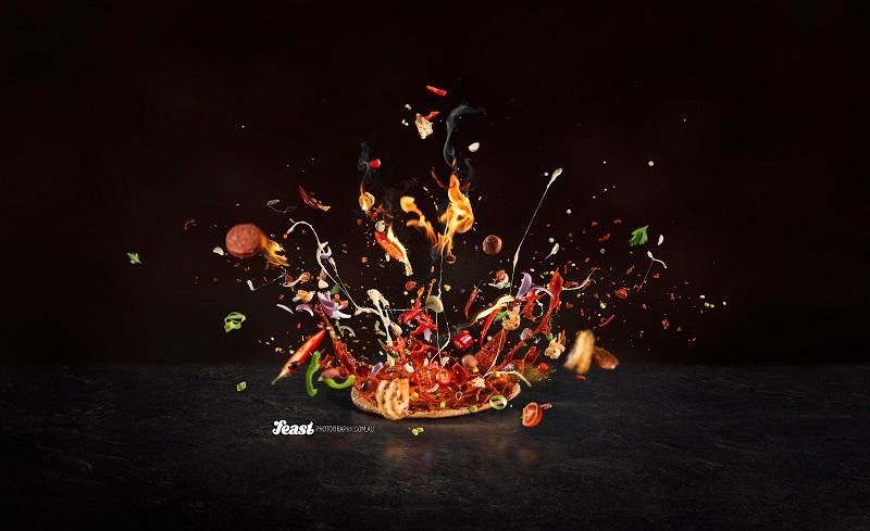 food photography blazing pizza