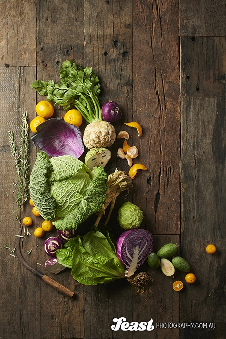 food photography fruits and vegetables flat lay