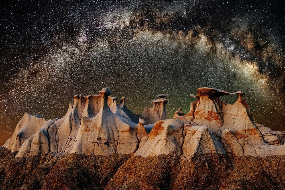 Rock formation with the milk way in the background