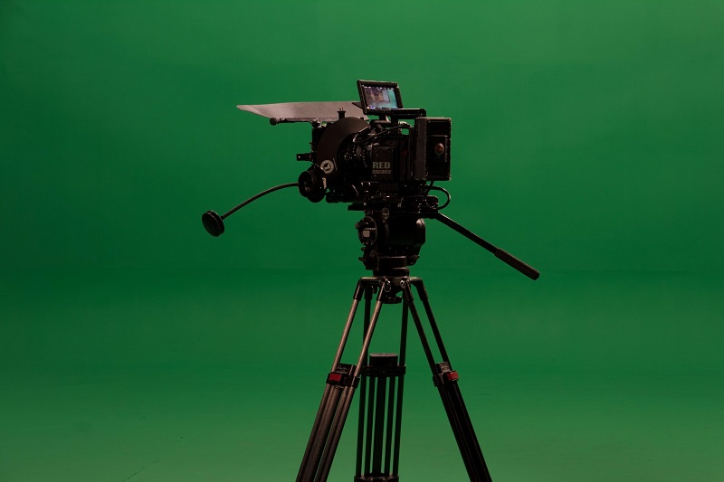 video camera set up with a green screen