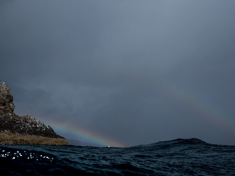 photo of a raindbow and the sea