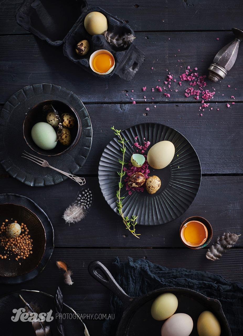 food photography egg flat lay