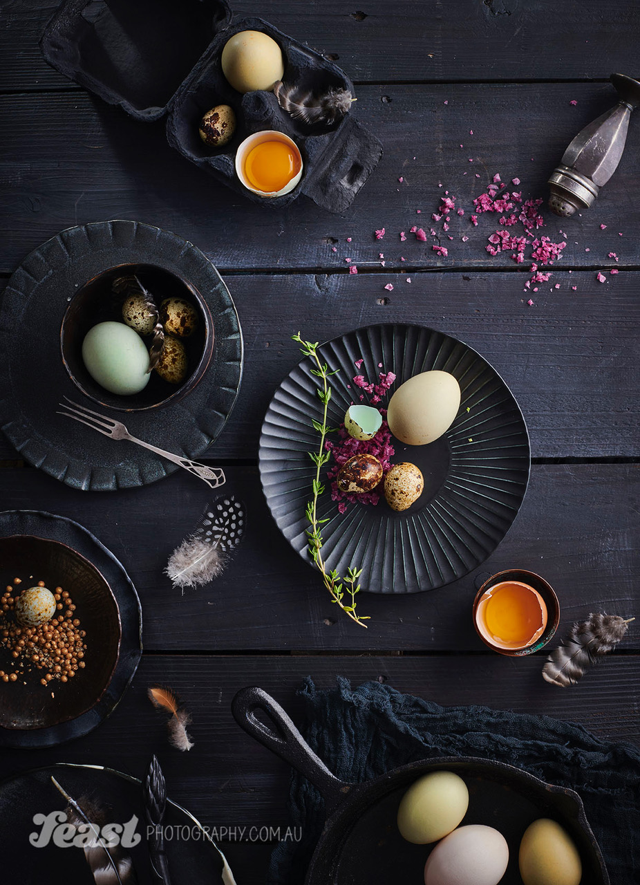 food photography plates on a table
