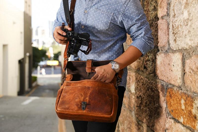 ona leather camera bag with fujifilm camera