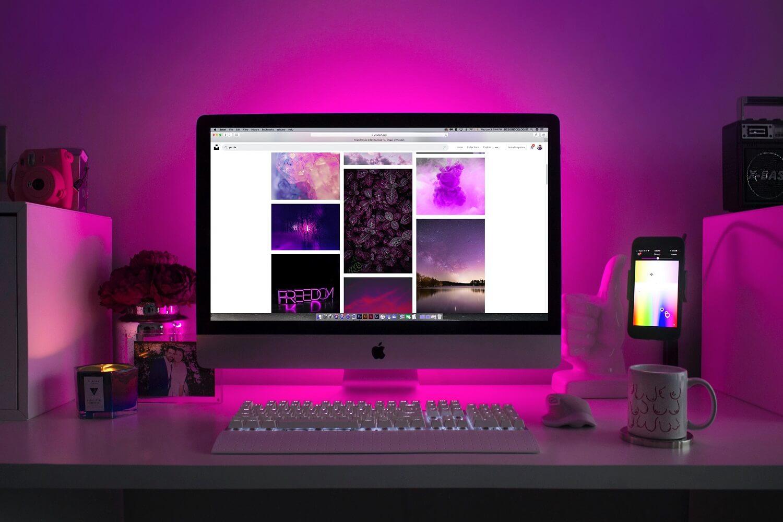 various stock photos displayed on the computer screen