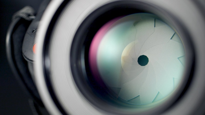 close up of a camera aperture