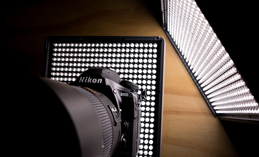 dslr camera lit by two studio lights
