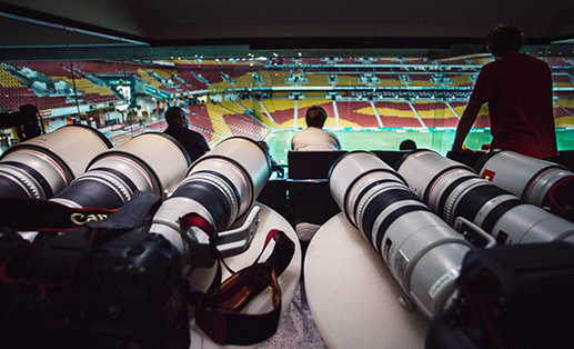 a range of telephoto lens during a sports match