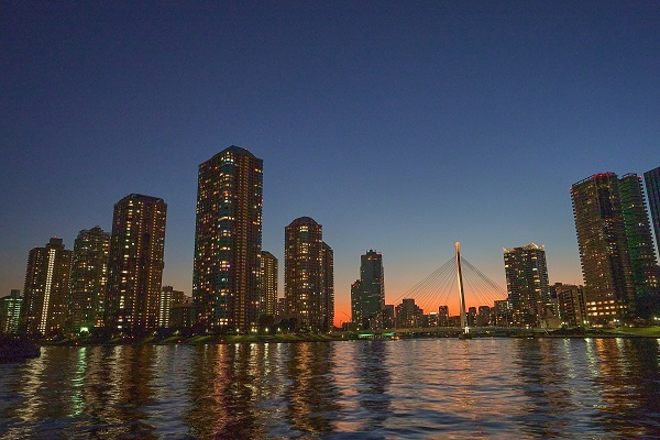 A cityscape during the blue hour, shot with the Sony FX3 camera