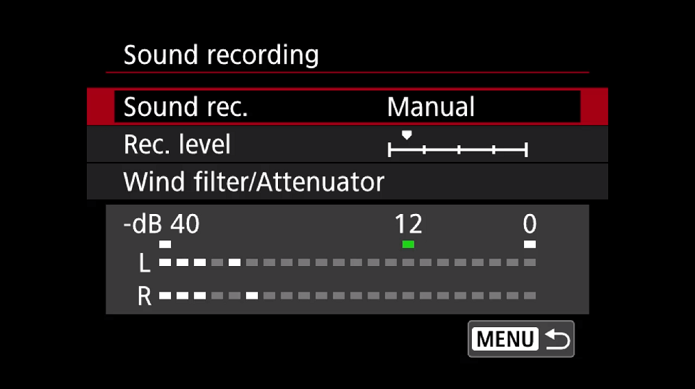 Sound recording function screen on a Canon EOS M50
