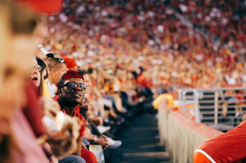sports photography shot of fans watching a sports event