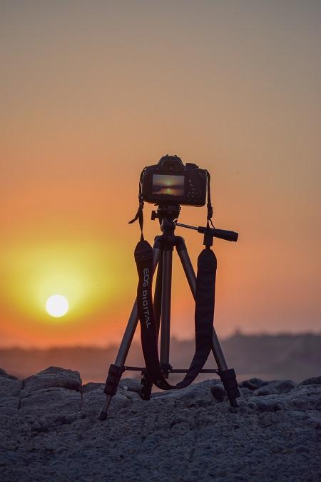 travel photography camera on a tripod