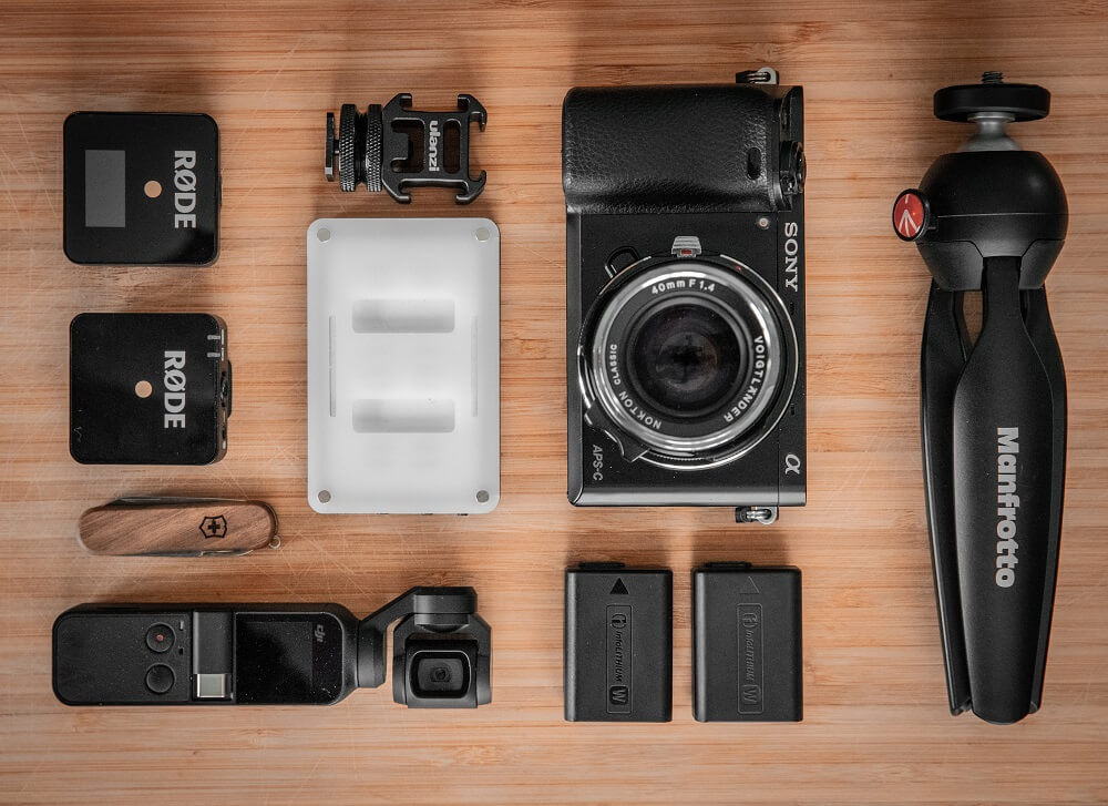 Flat lay photo of some videography gears