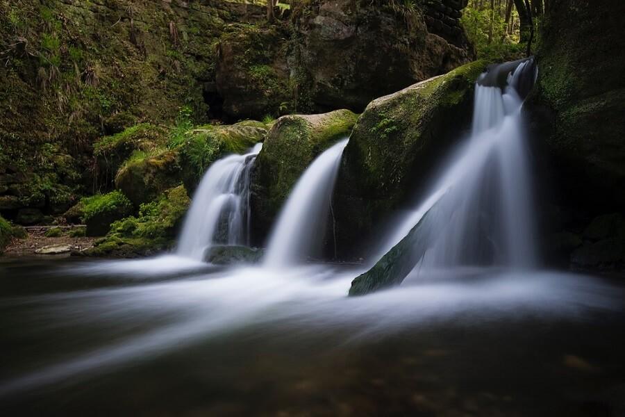 Long exposure shot of a waterfall