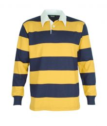 Striped Long Sleeve Rugby Jersey Navy/Gold