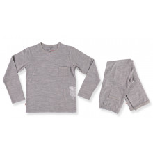 Merino Pyjamas - Big Kids - Grey Sheep Print