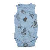 Merino Singlet Bodysuit - 'Foraging Friends' - Sky Blue