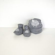 Beanie and Bootie Set - Grey Print